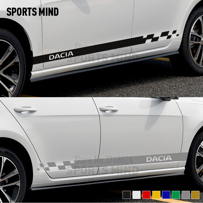 1 Pair Vinyl Door Side Stripe Car Stickers Decals For Dacia Duster Logan Sandero Stepway Lodgy Dokker Accessories Car Styling Car Stickers     - title=