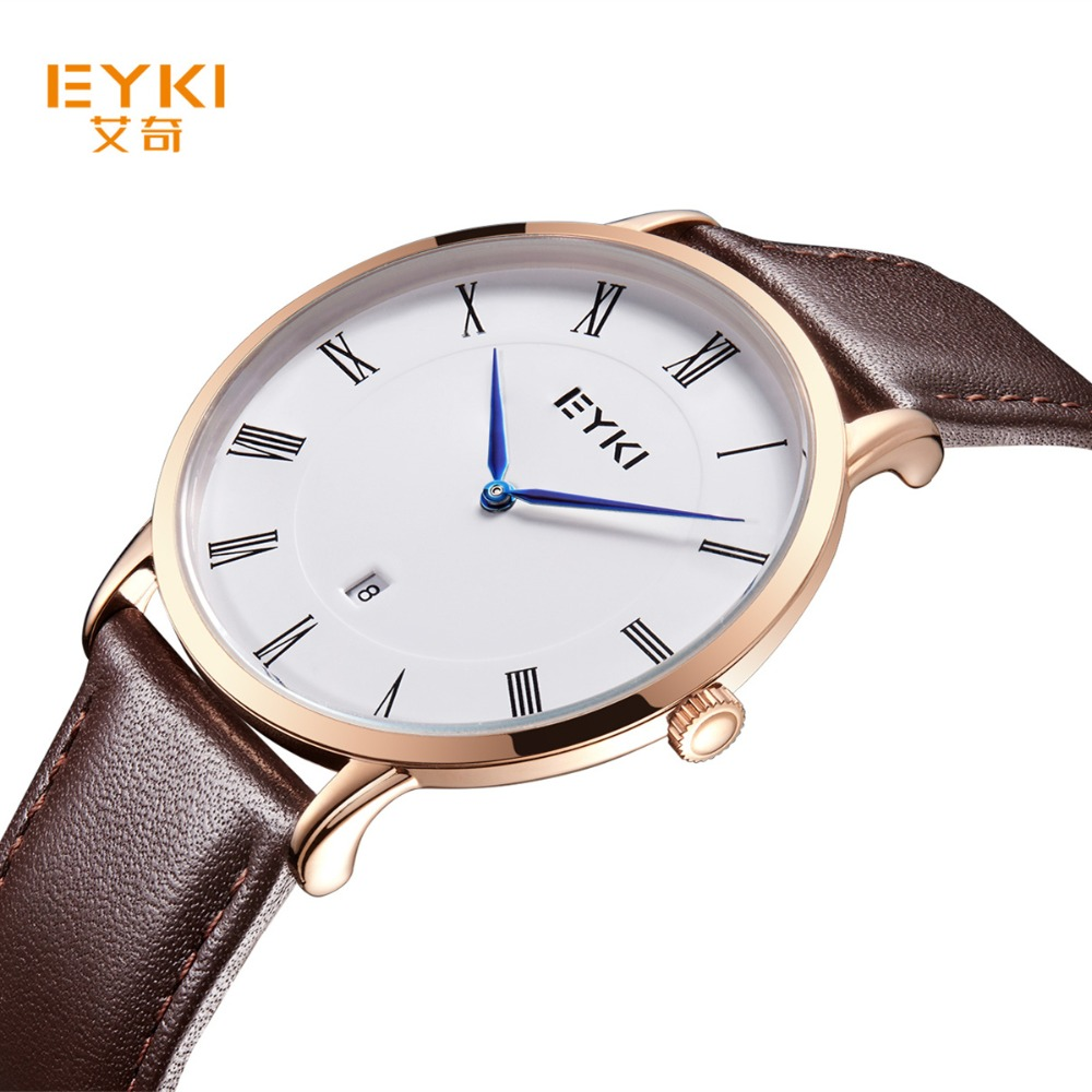 2018 Real Eyki Brand Couple Watches Top Luxury Men's Leather Wrist Lovers Dress Quartz-watch Waterproof Relogio Masculino saat 2017 real eyki brand couple watches top luxury men s leather wrist lovers dress quartz watch waterproof relogio masculino
