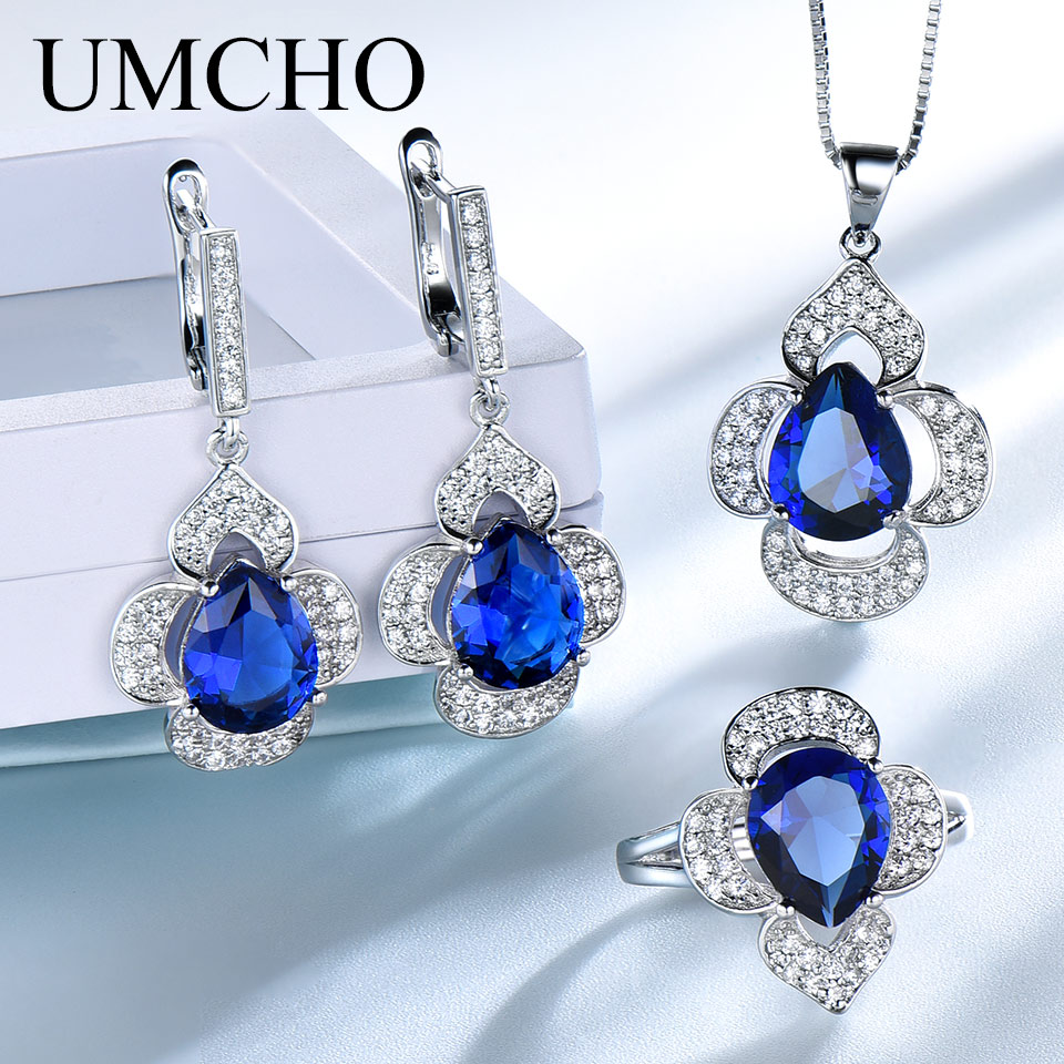UMCHO Classic Sapphoire Blue Rings Earrings Necklace Pendants Created Sapphire Rings For Women Wedding Gift Jewelry Sets