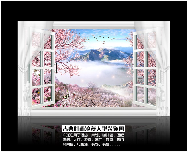 3DCustomized Mural Large Natural Scenery With False Windows Peach Blossom Behind TV Sofa As Background Wallpaper In Living Room