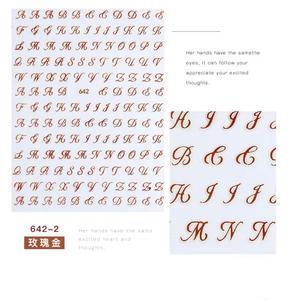 Image 4 - Mais novo WG 637 642 inglês alfabeto 3d etiqueta da arte do prego decalque do prego carimbo exportação japão projetos strass decorações