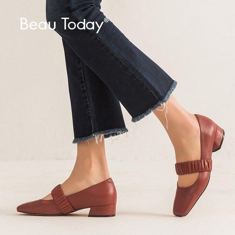 Beautoday 여성 펌프 송아지 가죽 정품 가죽 스퀘어 발가락 탄성 밴드 봄 숙녀 메리 제인 신발 수제 18207-에서여성용 펌프부터 신발 의  그룹 1