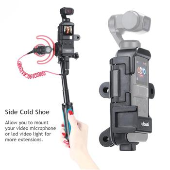 Ulanzi op-7 vlog extended housing case for dji osmo pocket , cage w microphone cold shoe 3 gopro adapter for motovlog helmet