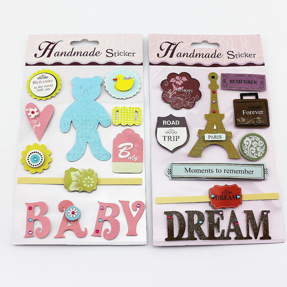 Scrapbook paper and stickers - Baby Dream Theme 3d Paper Stickers W Diamond Decoration Scrapbooking Paper Crafts 4sheets Lot