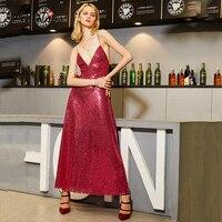 Kinikiss Women Rose Shine Maxi Dress Bling Bling Sequin Spaghetti Strap Evening Party Dress Deep V