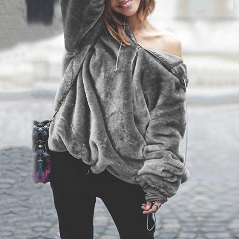 e4a3e27fba0 Плюшевые пуловеры Свободные женские Свитера Модные осенние с капюшоном на молнии  Женская одежда женский зимний джемпер