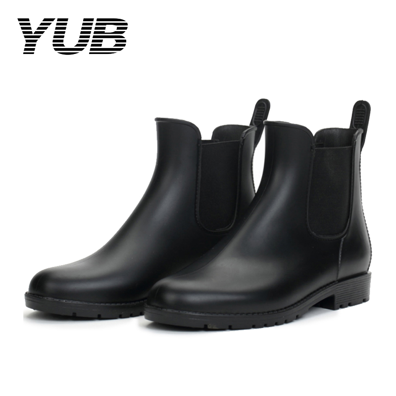 YUB Brand Women's Rain Boots with Waterproof Elastic Short Ankle Boots PVC Women Rubber Shoes Size 6.5-9 yub brand waterproof rain boots for women with solid color slip on winter mid calf shoes for girls