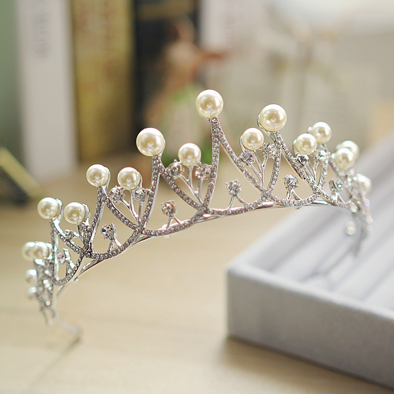 New Sparkling Crystal Pearl Tiara Crown Bridal Hair Accessories For Wedding Quinceanera Tiaras And Crowns Pageant Diamante Tiara 3