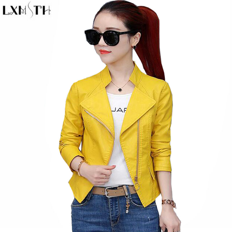 LXMSTH Womens Leather jackets And Coats Spring 2018 Korean Slim Short Motorcycle jacket Zipper Slim Pu Leather Coat Women Pink