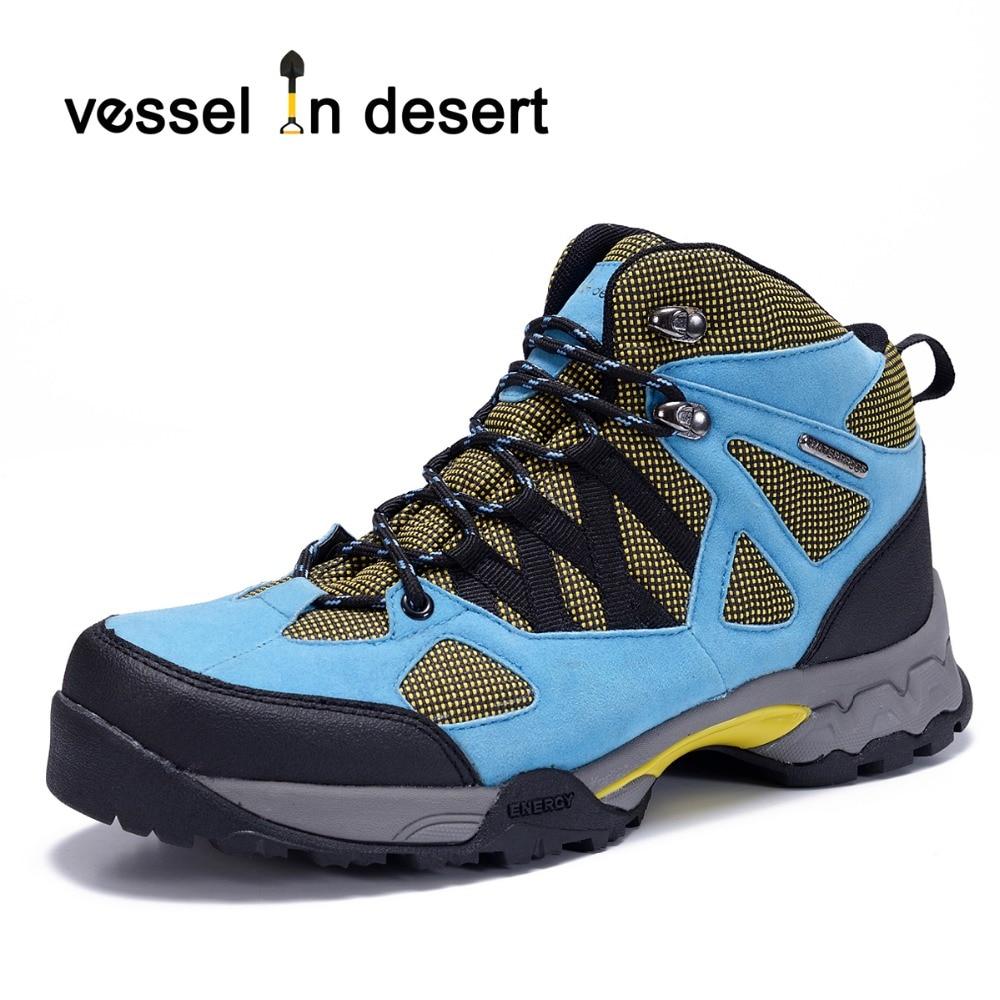 Fartøy i ørkenen Vanntette menn Fottøy Støvler Outdoor Puste Støvler Lett Sneaker Blå Gratis Frakt Plus Størrelse