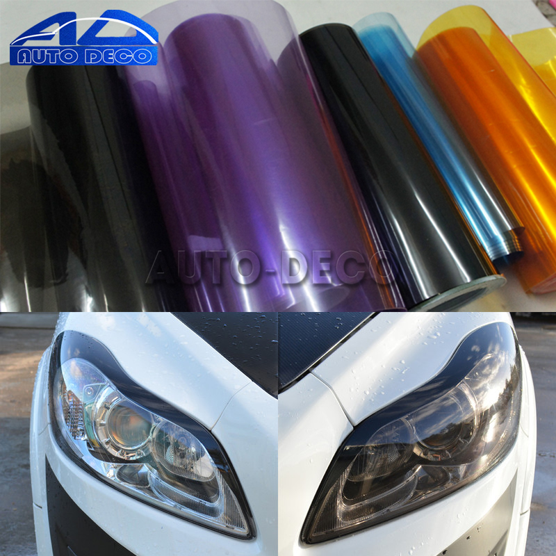 30*200cm Gloss Light Wrap Headlight Film Sheet 13 Colors Car Headlight Taillight Fog Vinyl Sticker Wrap