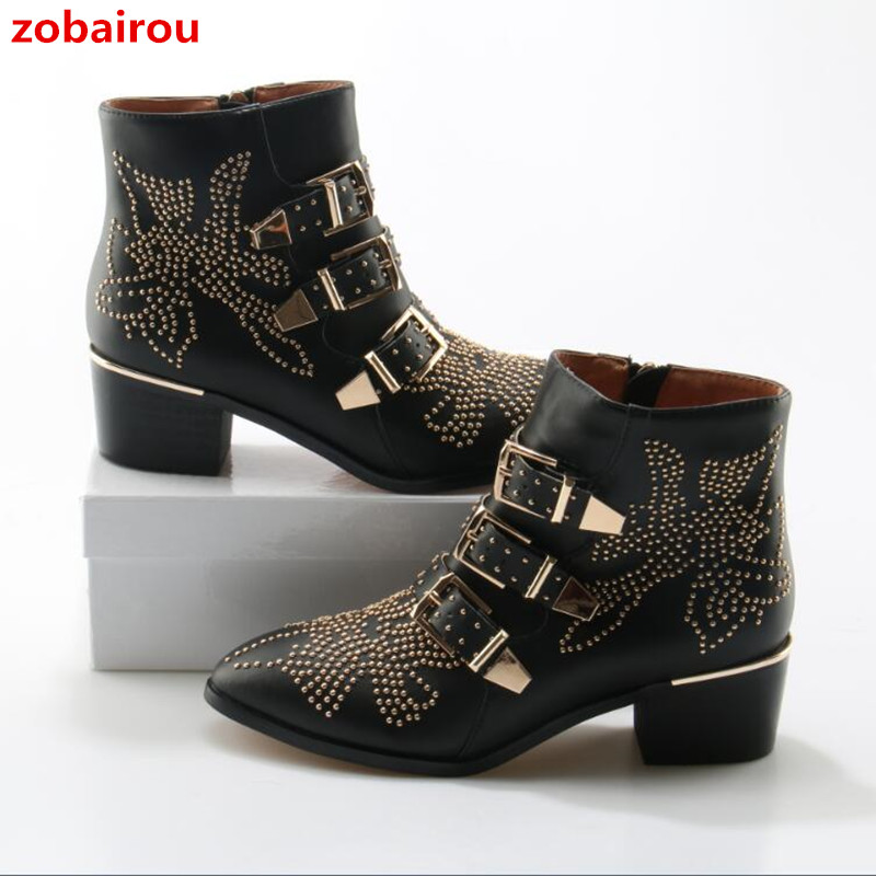 Zobairou Genuine Leather Women Studded Ankle Boots European Hot Sale Buckle Boots Ladies Cowboy Rock Fashion Motocycle Boots zobairou hot design suede ankle riding boots women western cowboy shoes woman fashion real genuine leather dicker boots 34 41