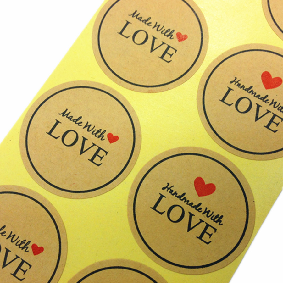 100Pcs/lot Red Heart 'Made With Love' Students DIY Work Kraft Adhesive Stickers For Handmade Products Gift Packaging Decoration