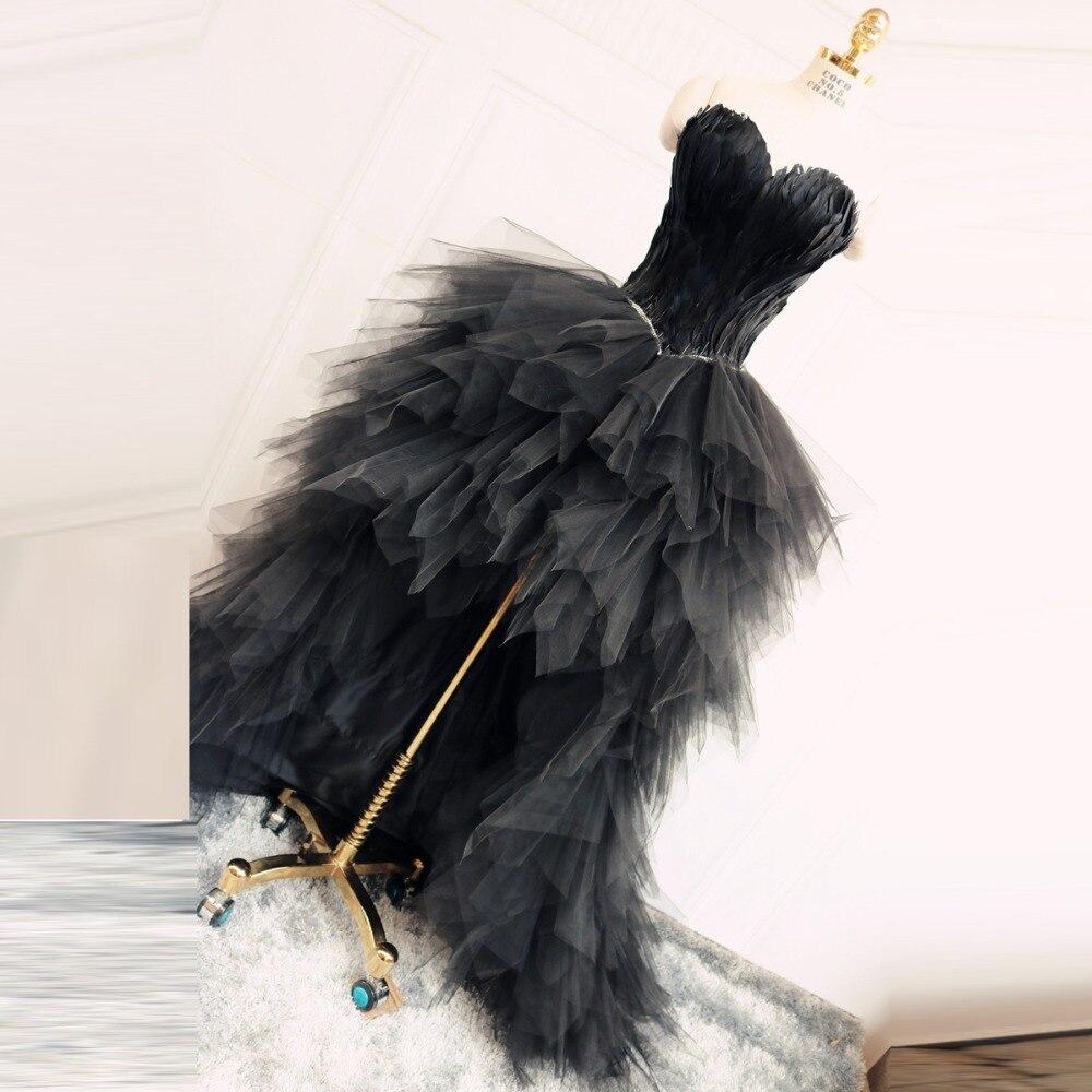 Hi Low Prom Dress Black Sweetheart Feather Evening Gowns Vestido De Festa Longo Evening Dresses Abendkleider Robe De Soiree