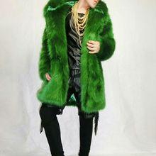 Fashion Men design Fake fur long jacket male singer stage show costume nightclub Dj outfit dance