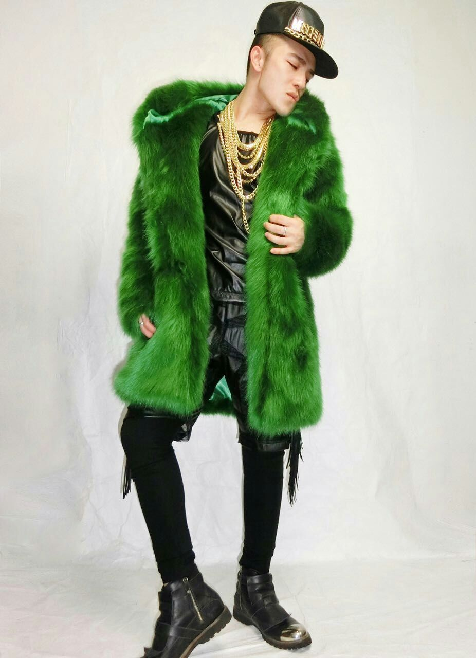 Fashion Men Design Fake Fur Long Jacket Male Singer Stage Show Costume Nightclub Dj Outfit Outfit Outerwear Prom Clothing Dress