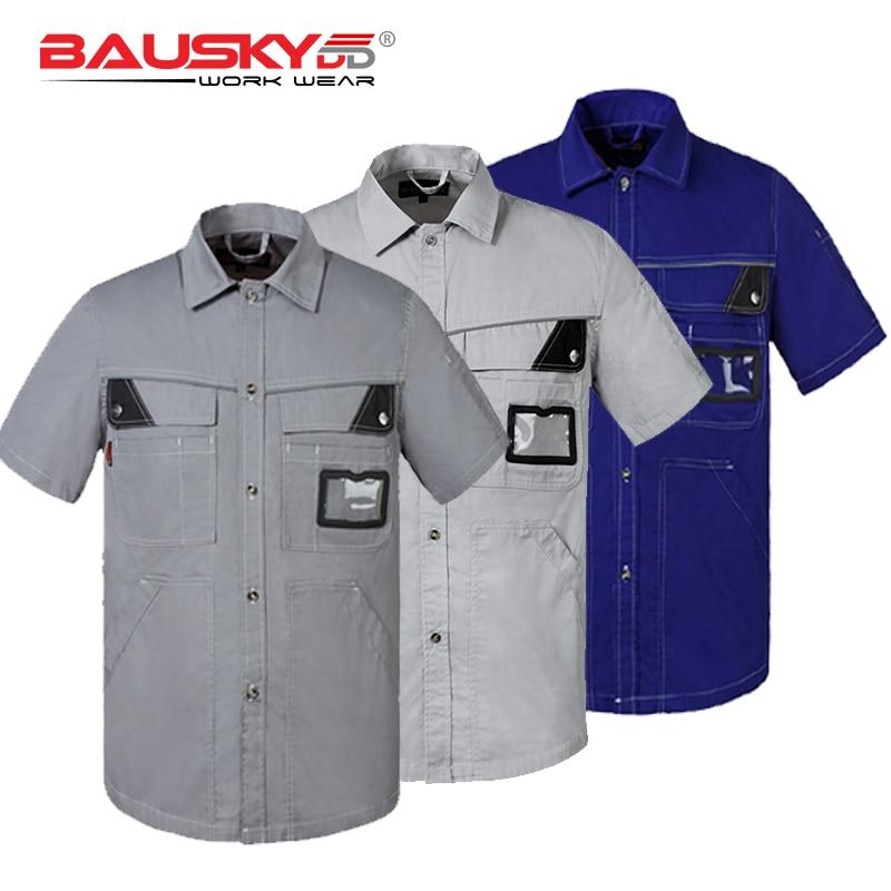 Bauskydd Industrial Work Shirt Summer Short-Sleeve T-Shirt Short-Sleeve trendy men s round neck geometric print short sleeve t shirt
