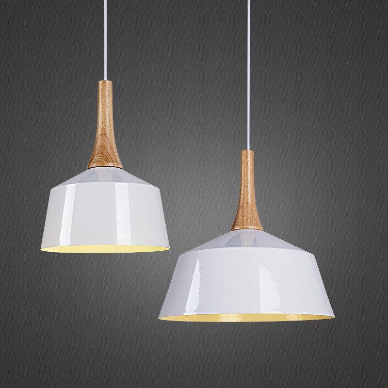 White Dia 27cm Pendant lights Wood And Aluminum Lamp Restaurant Bar Coffee Dining Room E27 Hanging Light Fixture WPL063