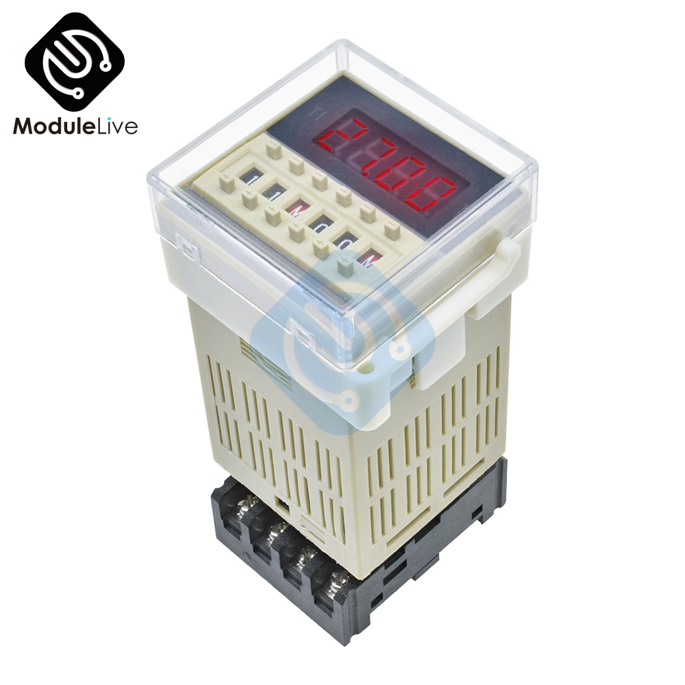 DH48S-S AC 220V Digital Precision Programmable Time Delay Relay With Socket Base