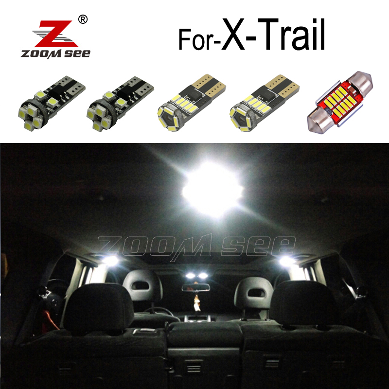 100% White Error Free <font><b>LED</b></font> Interior Dome Map Roof light kit For <font><b>Nissan</b></font> <font><b>X</b></font> <font><b>Trail</b></font> T30 T31 <font><b>T32</b></font> For <font><b>X</b></font>-<font><b>Trail</b></font> <font><b>LED</b></font> bulbs 2001-2019 image