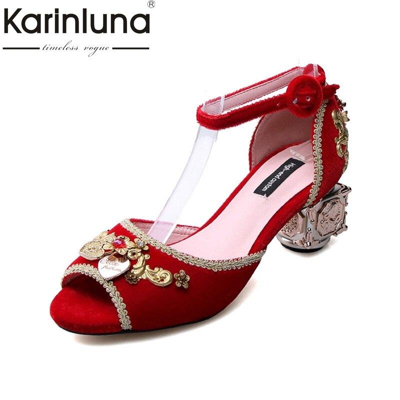KarinLuna 2018 Summer New Brand Velvet Strange Heels Sandals Med Heel Appliques Big Size 34-43 Shoes Woman Wedding Party