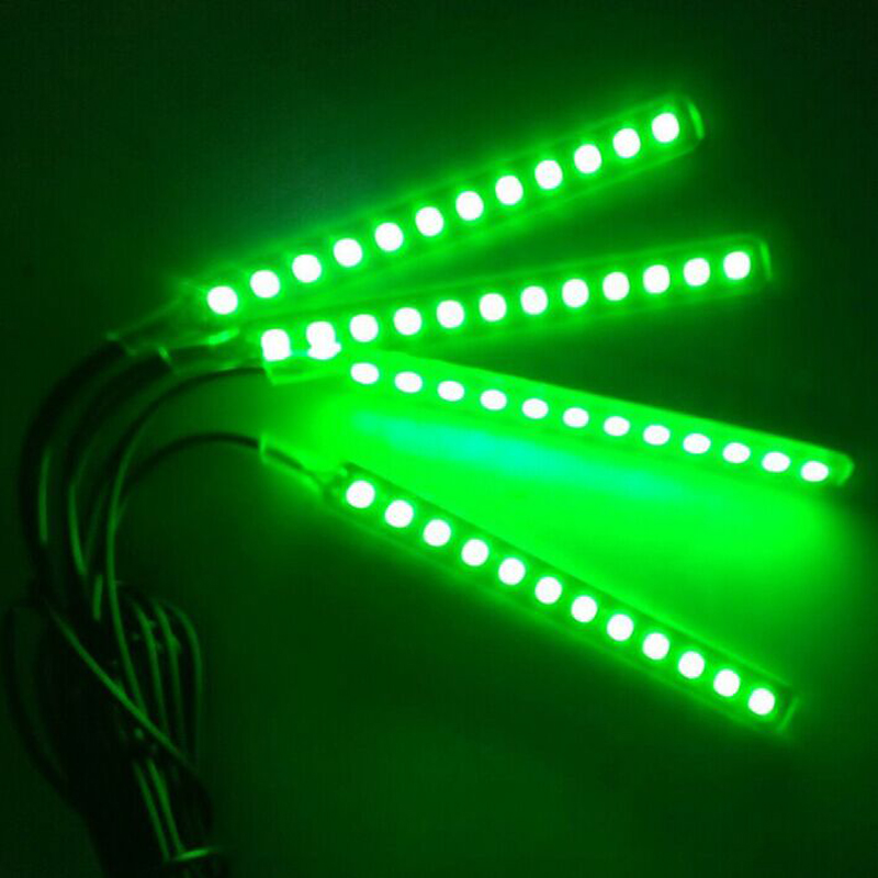 Four In One 12 LED Car Light Source Interior Light For SUV Trim Atmosphere Panel Neon Lamp Strip Car Styling Ambient Light