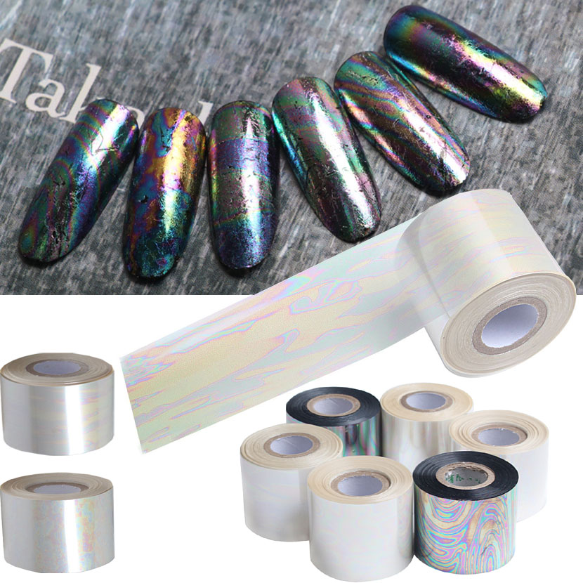 120m/Roll Nail Art Fancy Star Paper Shell Symphony Design Cellophane Nail Stickers for 3D Nails Art Decorations 6 Colors