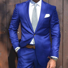 Royal Blue Groom Tuxedo 2 Piece Slim Fit Mens Wedding Prom Party Suits Casual Man Suits Tailor Made Bridegroom Suit Jacket+Pants