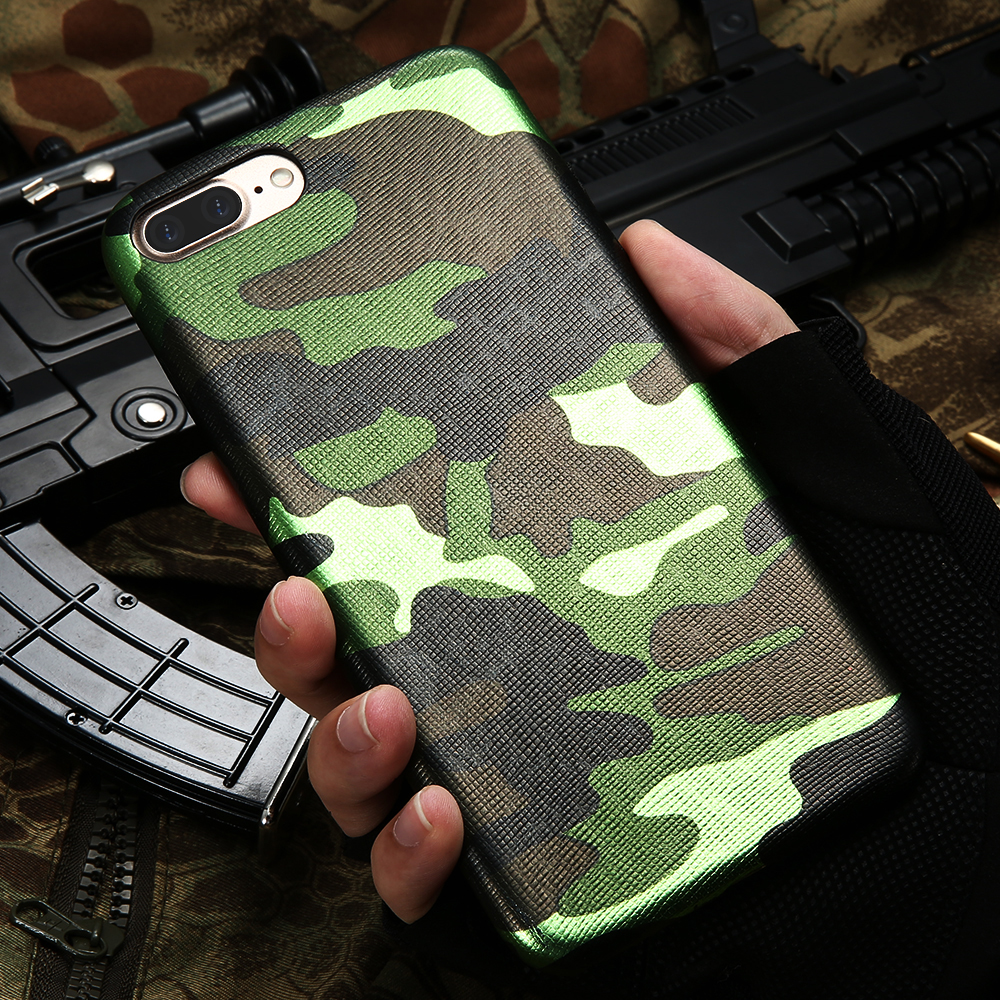 KISSCASE For iPhone 7 Case Military Camouflage Cool Men Leather Back Cover Case For iPhone 7 7 Plus For iPhone 6 6S Plus 5 5s SE
