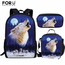 FORUDESIGNS School Bags 3pcs Cool Moon Wolf Printed Orthopedic Satchel Backpacks Book Bag For Teenagers Girls Rucksack Mochilas