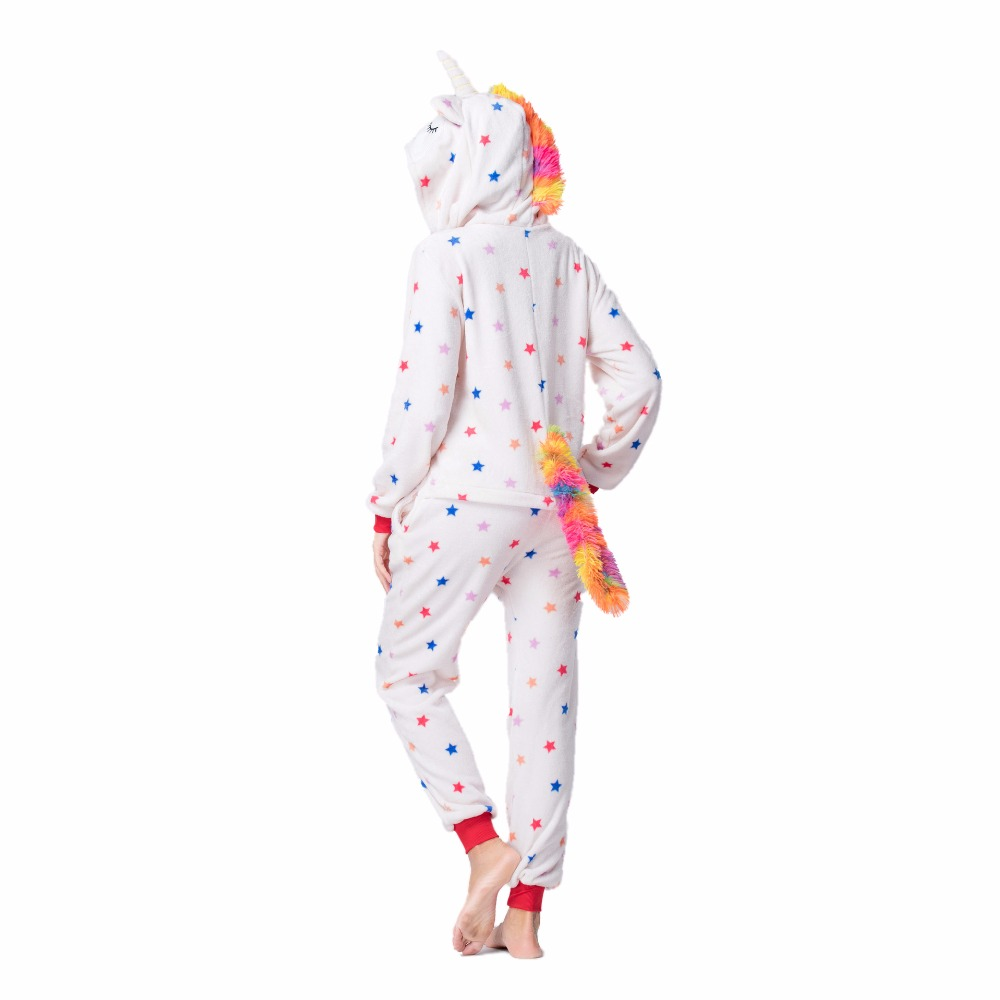 Image 5 - 2019 Flannel Animal unicorn Pajamas Sets Women Men Adults onesies unicorn Panda Stitch Cosplay Winter Warm Hooded Sleepwear-in Pajama Sets from Underwear & Sleepwears