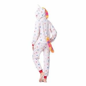 Image 4 - Flannelสัตว์Unicornชุดนอนชุดผู้หญิงผู้ชายKigurumiผู้ใหญ่Onesies Unicorn Panda Stitch CosplayฤดูหนาวWarm Hoodedชุดนอน