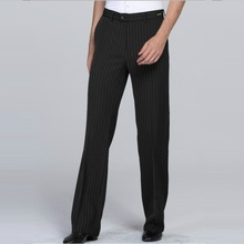 Newest Latin Dance Pants Males Classical Stripe Black Cotton Long Men Ballroom Square Exercise Trousers B-6977