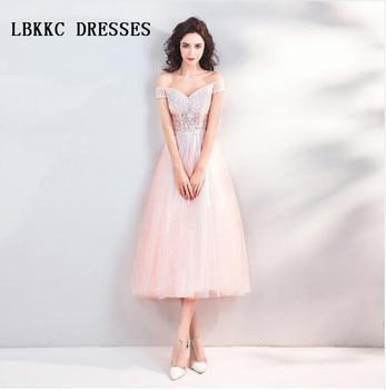 Desnudo Rosa Corto De Fiesta Vestidos Hasta La Rodilla