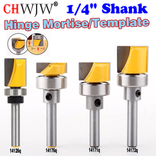 Купить с кэшбэком 1PC Hinge Mortise/Template Router Bit with Shank Bearing Bottom Cleaning Straight end mill trimmer cleaning flush trim
