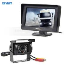 DIYKIT 4.3 polegadas Car Monitor + Rear View Camera De Backup À Prova D' Água Sistema de Assistência de Estacionamento para Caminhões Caravanas Ônibus Motorhome