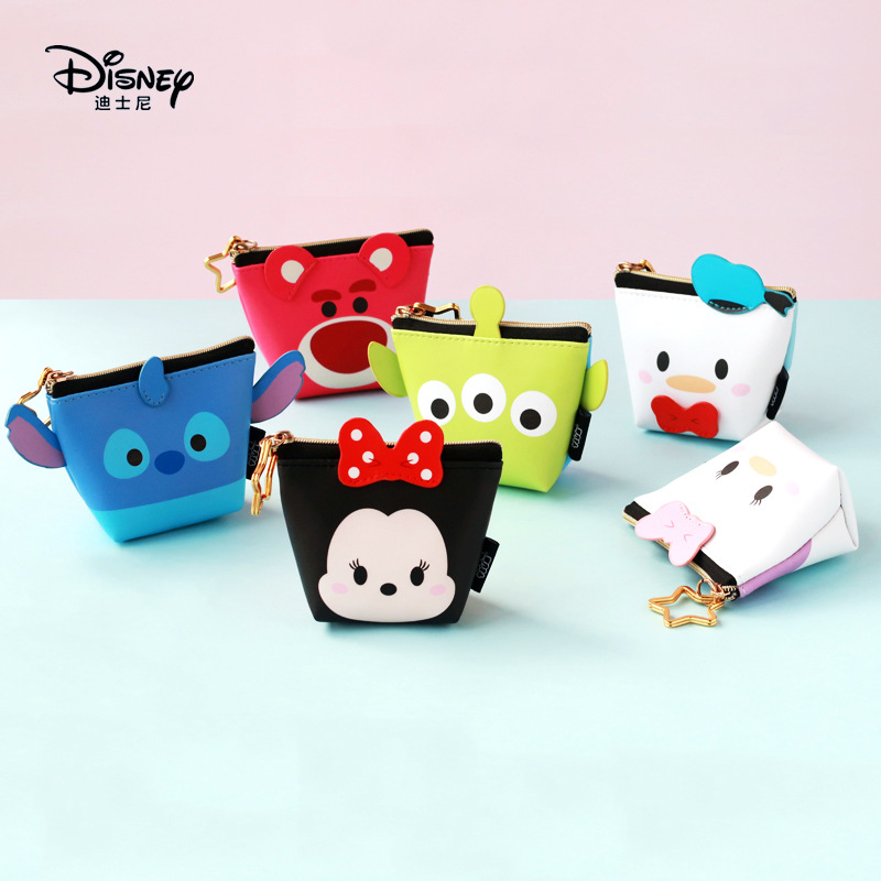 Disney Mickey Mouse Portable Cosmetic Make Up Bag Multi-purpose Storage Coin Pu Purse Handbag Cartoon Minnie Makeup Pu Storage Complete Range Of Articles Diaper Bags