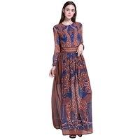 Runway Maxi Chiffon Dress Women Long Sleeve Retro Print Elegant Party Dresses 2017 Summer Style Beach