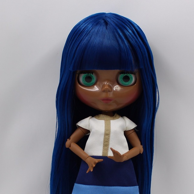 TBL Neo Blythe Doll Black Skin Blue Hair Jointed Body