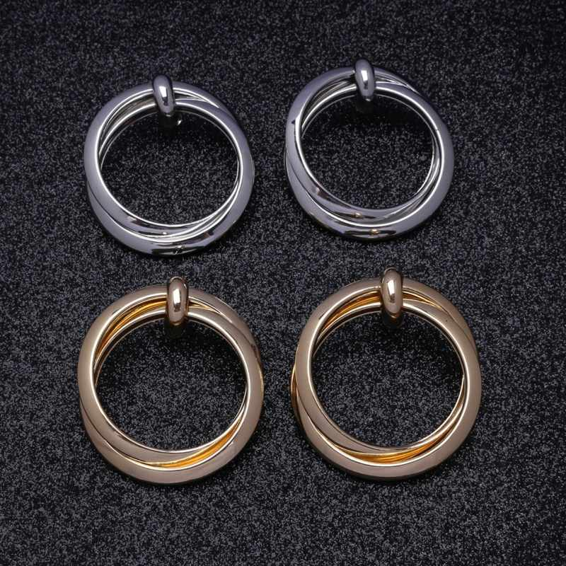 Round Geometric Drop Earrings For Women Vintage Gold Color Dangle Za Earring Boho 2019 Female Fashion Jewelry