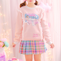 2017 Pink Women Fleece Lined Hoodies Korea Harajuku Bathtub Cat Print Ruffles Pullover Girly Girl Kawaii