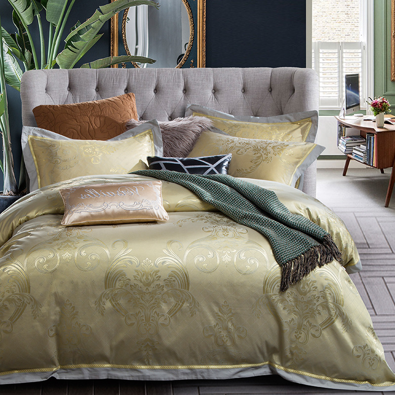 Bedding Home Textile 2018 New Wedding/hotel/home Luxury Palace Tencel Cotton Jacquard 4pcs Bedding Sets Duvet Cover Set Bed Cover Bed Sets Bed Sheets With The Best Service