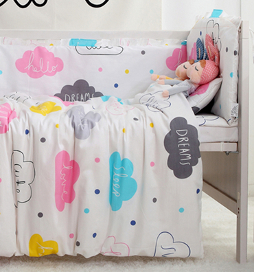 7PCS Full Set Cloud Patterns Baby Bedding Bed Around Safety Protection Juego De Cama,(4bumper+sheet+duvet +pillow)