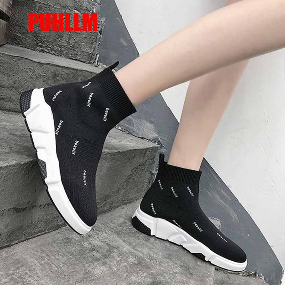 PUHLLM 2019 Women Sneakers Vulcanized Shoes Sock Sneakers Women Summer Slip On Flat Shoes Women Plus Size Loafers Walking Flat22(China)