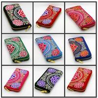 10 pcs/lot Embroidered Canvas Women Wallet Purse Handmade Ethnic Flowers Embroidery Zip Day Clutch Cash Card Purse