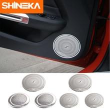 Shinekaインテリアモールディングステンレス鋼オーディオスピーカー車のドアスピーカーためフォードマスタング2015 2016 2017 2018