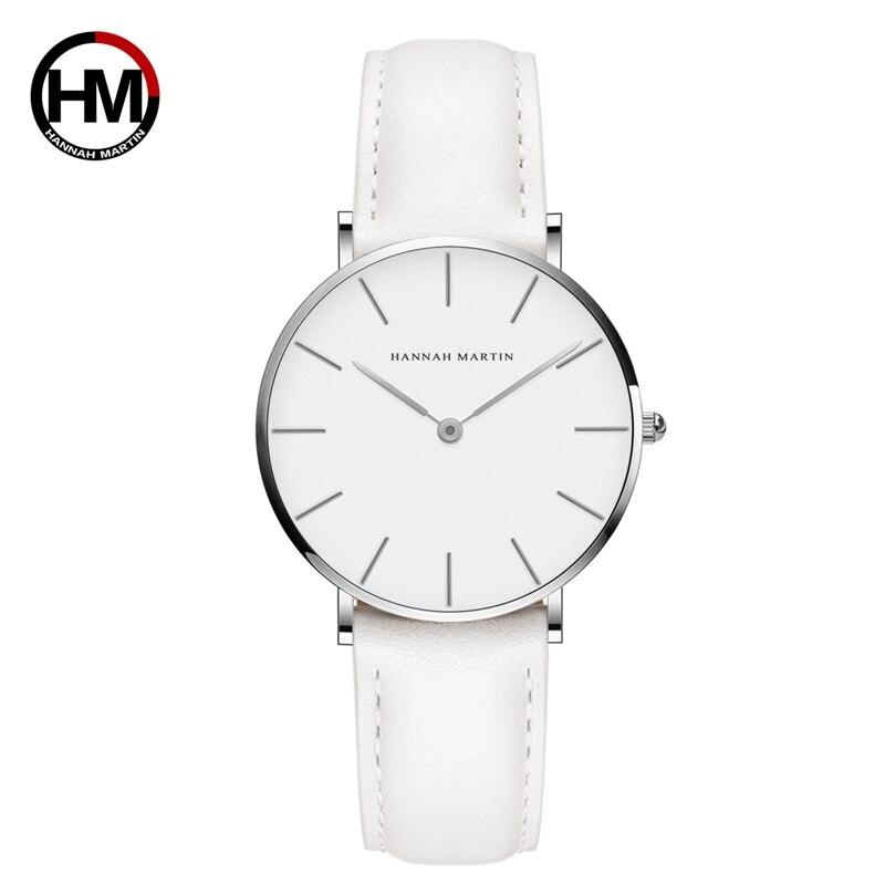 Hannah Martin Casual Ladies Watch With Leather Strap Waterproof Women Watches Silver Quartz Wrist Watch White Relogio Feminino