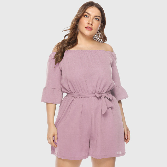 2019 summer New Women Off-Shoulder Playsuits Casual Lace Up Short-Sleeved  Loose Solid Sexy Playsuitst Rompers Plus Size 4XL 2
