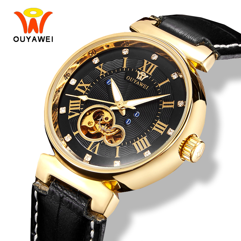 Ouyawei Men's Skeleton Automatic Self Winding Watch Mechanical Luxury Gold Silver Black Leather Band Wrist Watches 6 Colors mce 01 0060217 stainless steel self winding mechanical analog wrist watch black silver