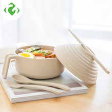 Solid Bowl Set With chopsticks fork spoon Wheat fiber Bowl with handle cover Single tableware Instant noodles Eco-Friendly Cute